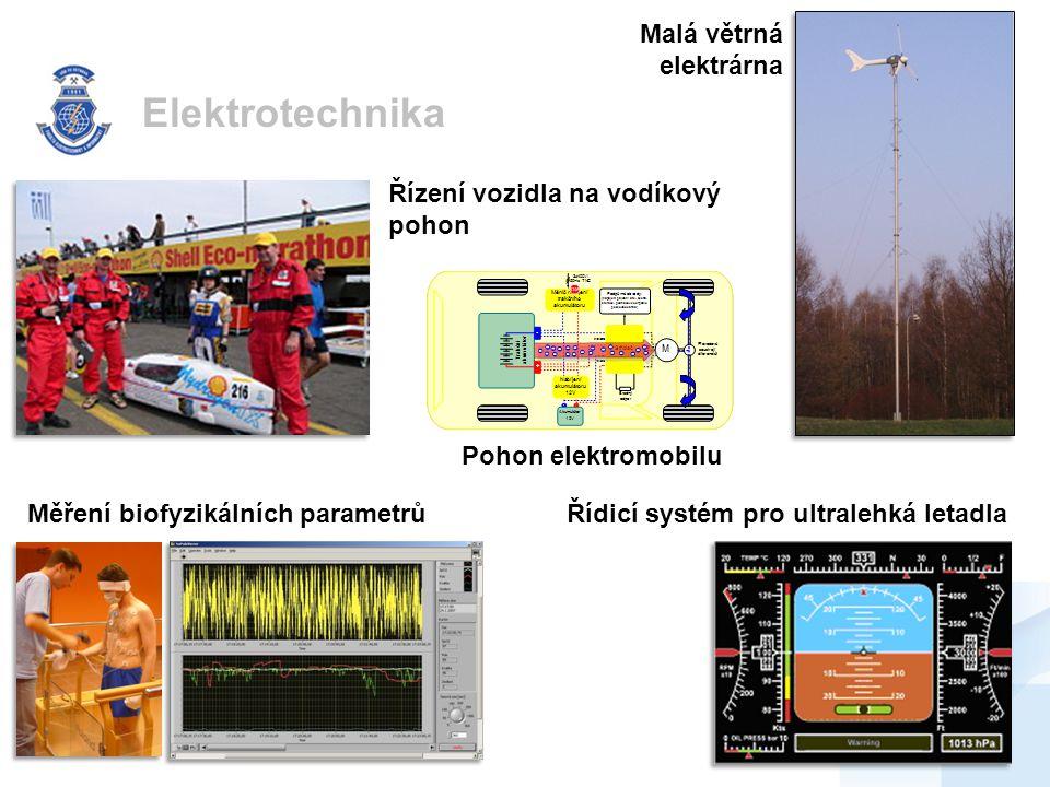 Elektrotechnika Malá větrná elektrárna Řídicí systém pro ultralehká letadla Řízení vozidla na vodíkový pohon Měření biofyzikálních parametrů Pohon elektromobilu