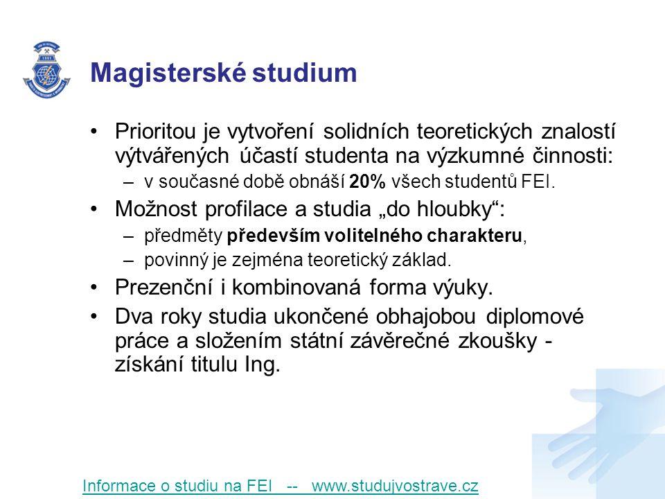 Magisterské studium Prioritou je vytvoření solidních teoretických znalostí výtvářených účastí studenta na výzkumné činnosti: –v současné době obnáší 20% všech studentů FEI.