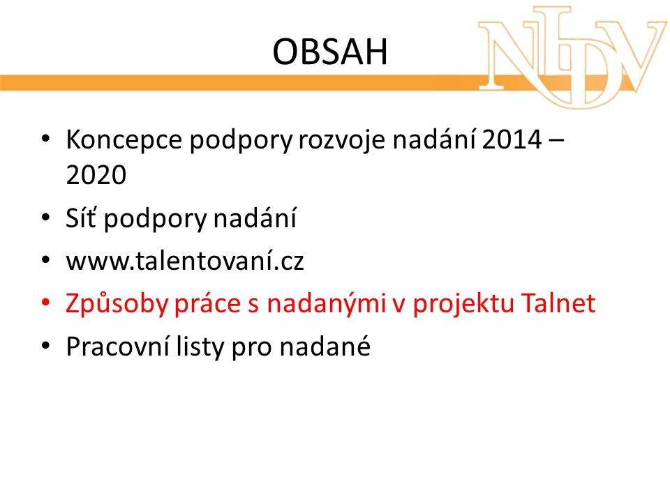 OBSAH Koncepce podpory rozvoje nadání 2014 – 2020 Síť podpory nadání www.talentovaní.cz Způsoby práce s nadanými v projektu Talnet Pracovní listy pro