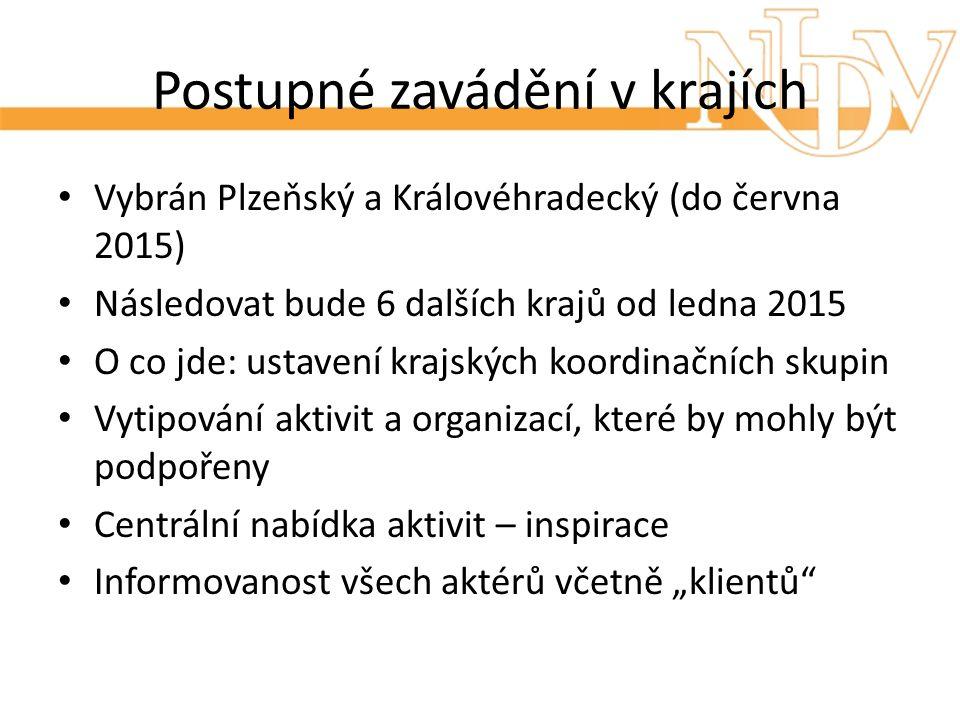 Postupné zavádění v krajích Vybrán Plzeňský a Královéhradecký (do června 2015) Následovat bude 6 dalších krajů od ledna 2015 O co jde: ustavení krajsk