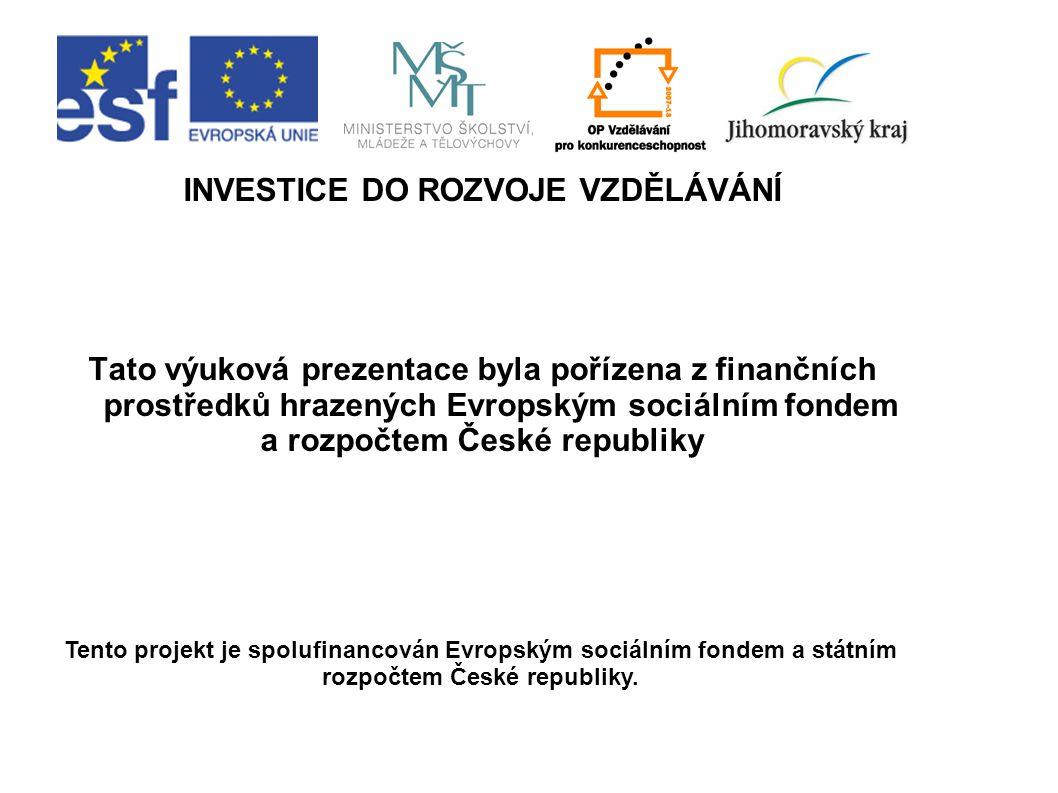 INVESTICE DO ROZVOJE VZDĚLÁVÁNÍ Tato výuková prezentace byla pořízena z finančních prostředků hrazených Evropským sociálním fondem a rozpočtem České r
