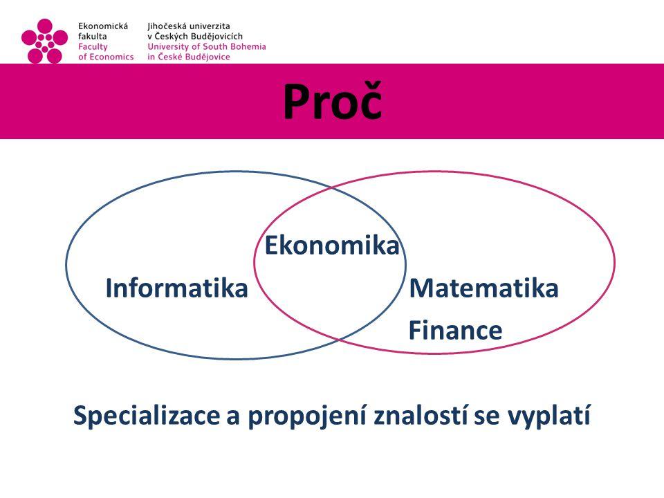Proč Ekonomika Informatika Matematika Finance Specializace a propojení znalostí se vyplatí