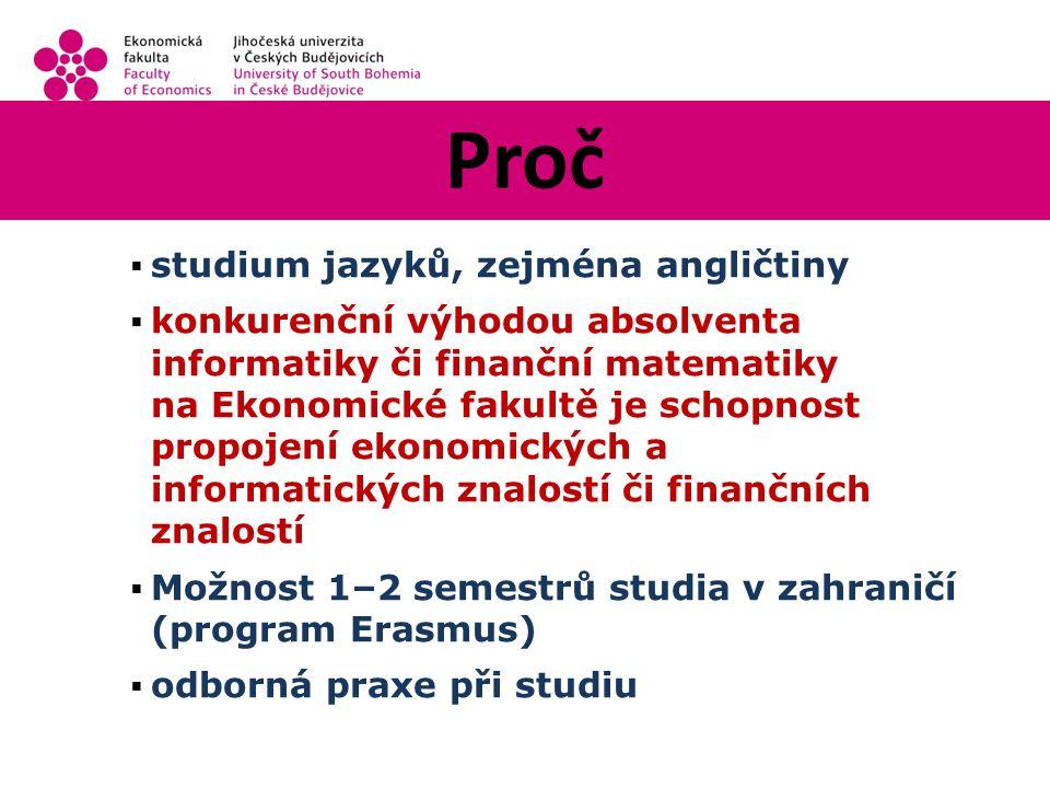 Proč  studium jazyků, zejména angličtiny  konkurenční výhodou absolventa informatiky či finanční matematiky na Ekonomické fakultě je schopnost propojení ekonomických a informatických znalostí či finančních znalostí  Možnost 1–2 semestrů studia v zahraničí (program Erasmus)  odborná praxe při studiu