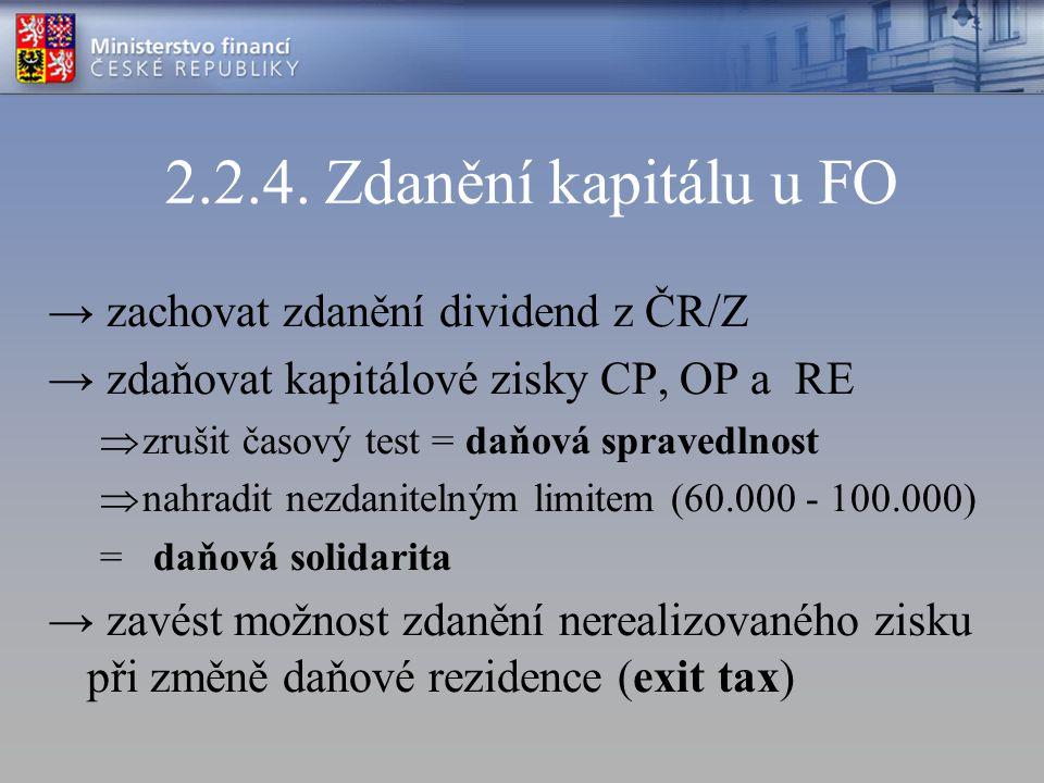 2.2.4. Zdanění kapitálu u FO → zachovat zdanění dividend z ČR/Z → zdaňovat kapitálové zisky CP, OP a RE  zrušit časový test = daňová spravedlnost  n