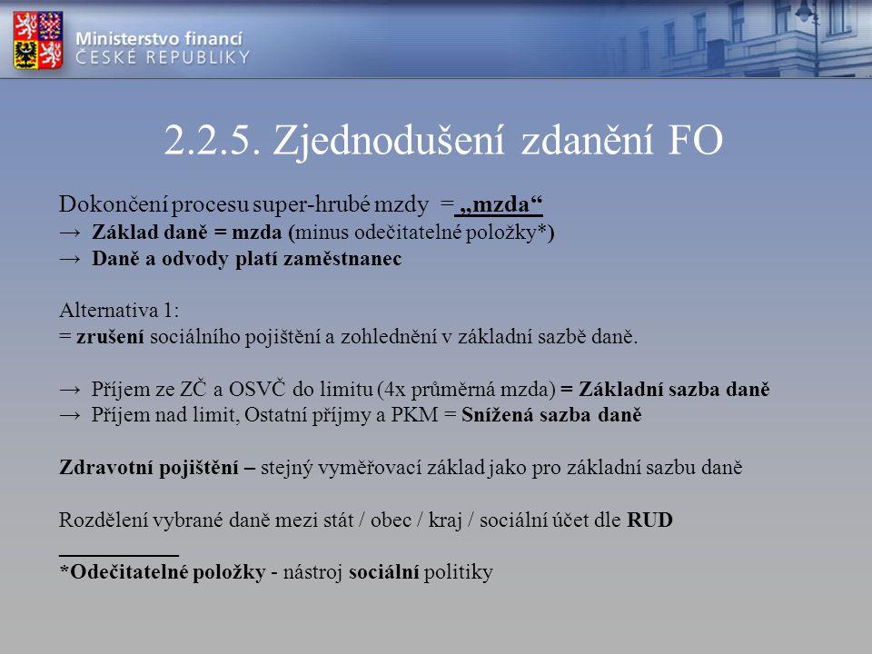 """2.2.5. Zjednodušení zdanění FO Dokončení procesu super-hrubé mzdy = """"mzda"""" →Základ daně = mzda (minus odečitatelné položky*) →Daně a odvody platí zamě"""