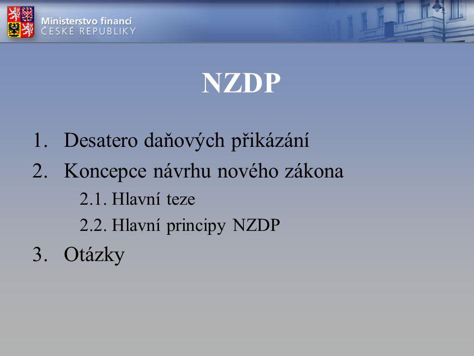 NZDP 1.Desatero daňových přikázání 2.Koncepce návrhu nového zákona 2.1. Hlavní teze 2.2. Hlavní principy NZDP 3.Otázky