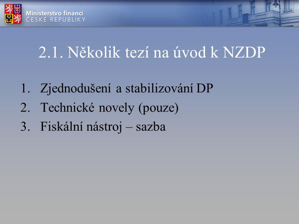 2.1. Několik tezí na úvod k NZDP 1.Zjednodušení a stabilizování DP 2.Technické novely (pouze) 3.Fiskální nástroj – sazba