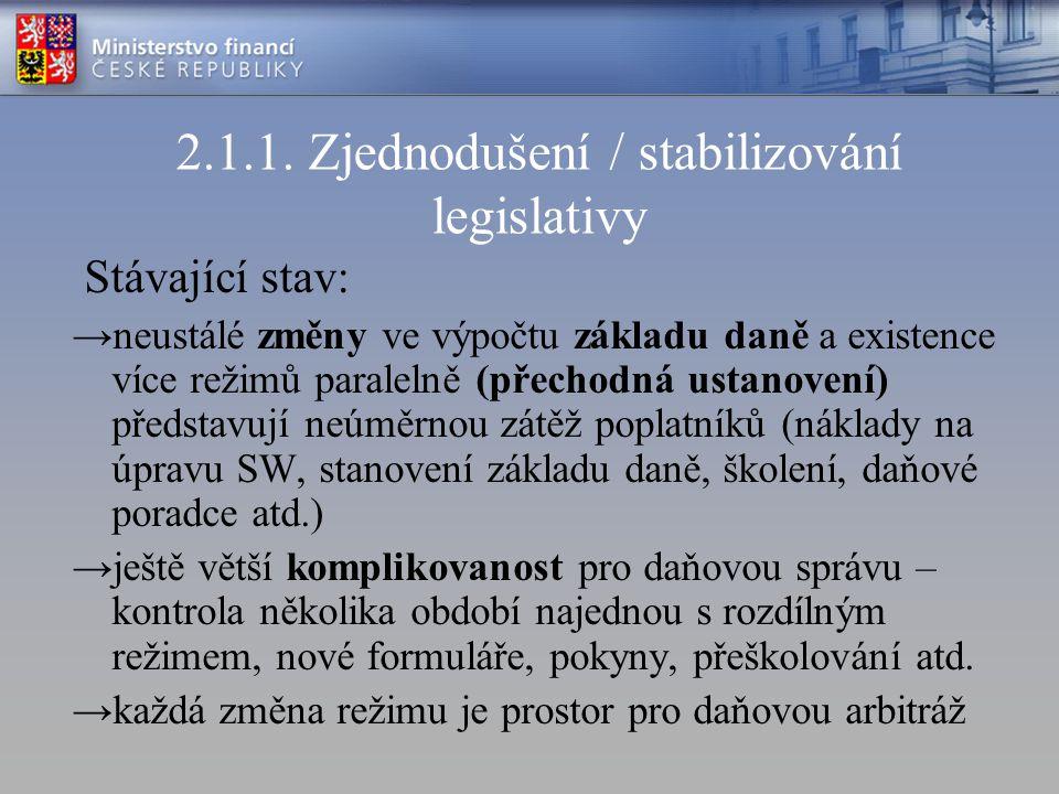 2.1.1. Zjednodušení / stabilizování legislativy Stávající stav: →neustálé změny ve výpočtu základu daně a existence více režimů paralelně (přechodná u