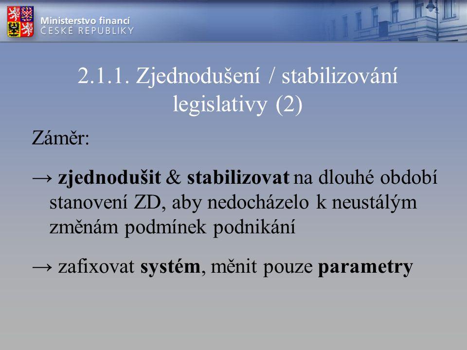 2.1.1. Zjednodušení / stabilizování legislativy (2) Záměr: → zjednodušit & stabilizovat na dlouhé období stanovení ZD, aby nedocházelo k neustálým změ