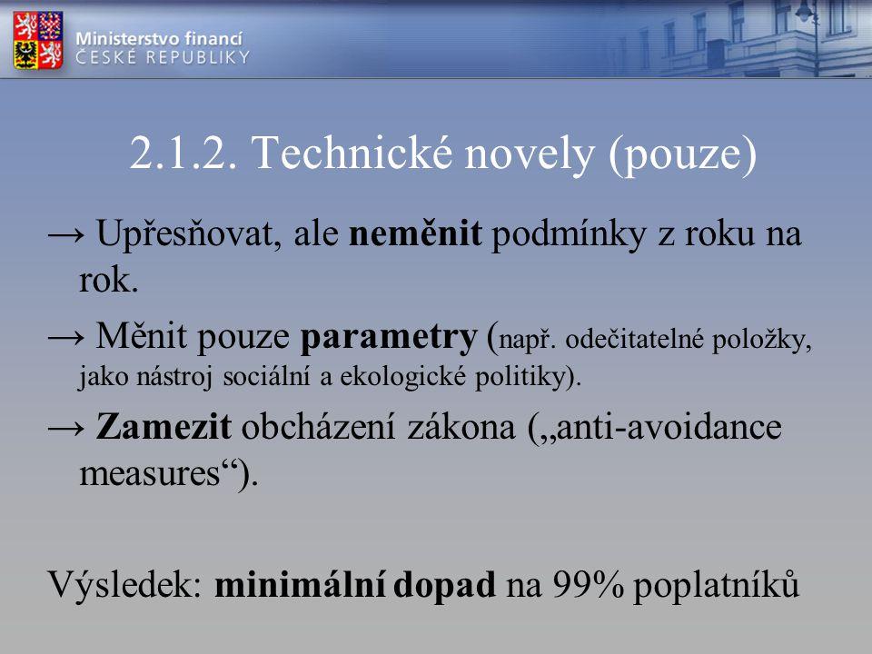 2.1.2. Technické novely (pouze) → Upřesňovat, ale neměnit podmínky z roku na rok. → Měnit pouze parametry ( např. odečitatelné položky, jako nástroj s