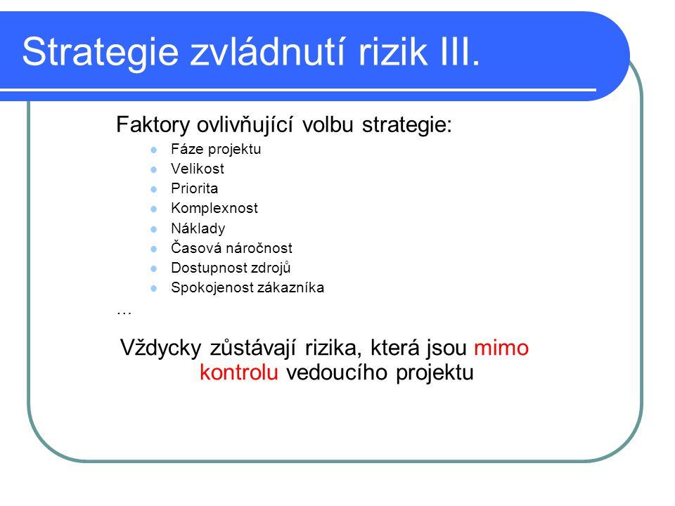 Strategie zvládnutí rizik III. Faktory ovlivňující volbu strategie: Fáze projektu Velikost Priorita Komplexnost Náklady Časová náročnost Dostupnost zd