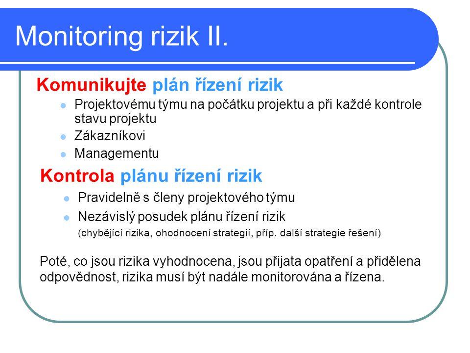 Monitoring rizik II. Komunikujte plán řízení rizik Projektovému týmu na počátku projektu a při každé kontrole stavu projektu Zákazníkovi Managementu K