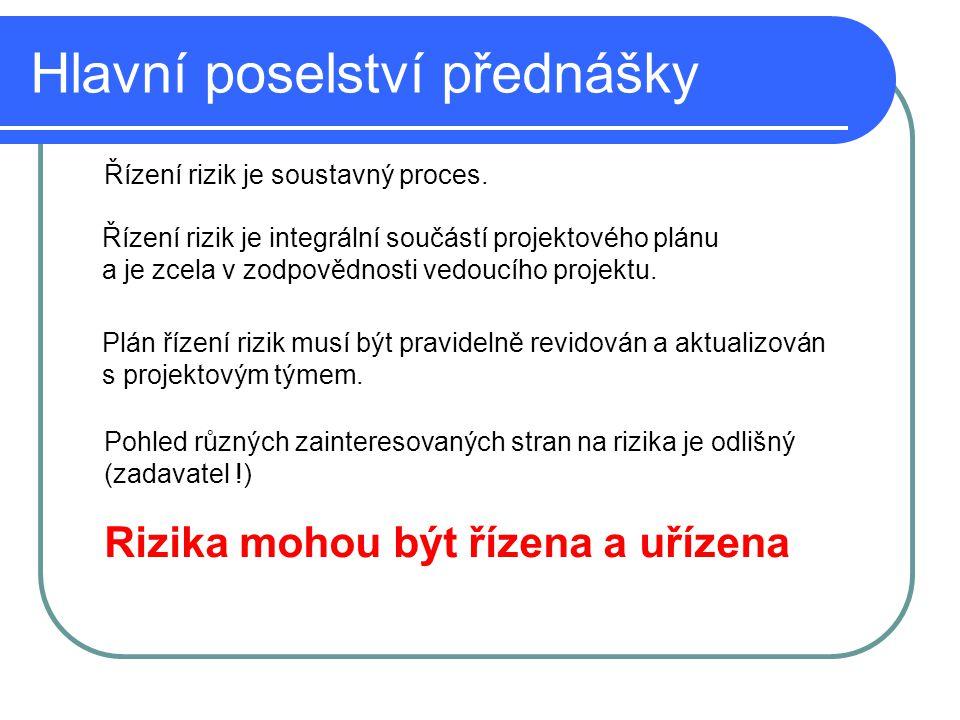 Hlavní poselství přednášky Rizika mohou být řízena a uřízena Řízení rizik je soustavný proces. Řízení rizik je integrální součástí projektového plánu