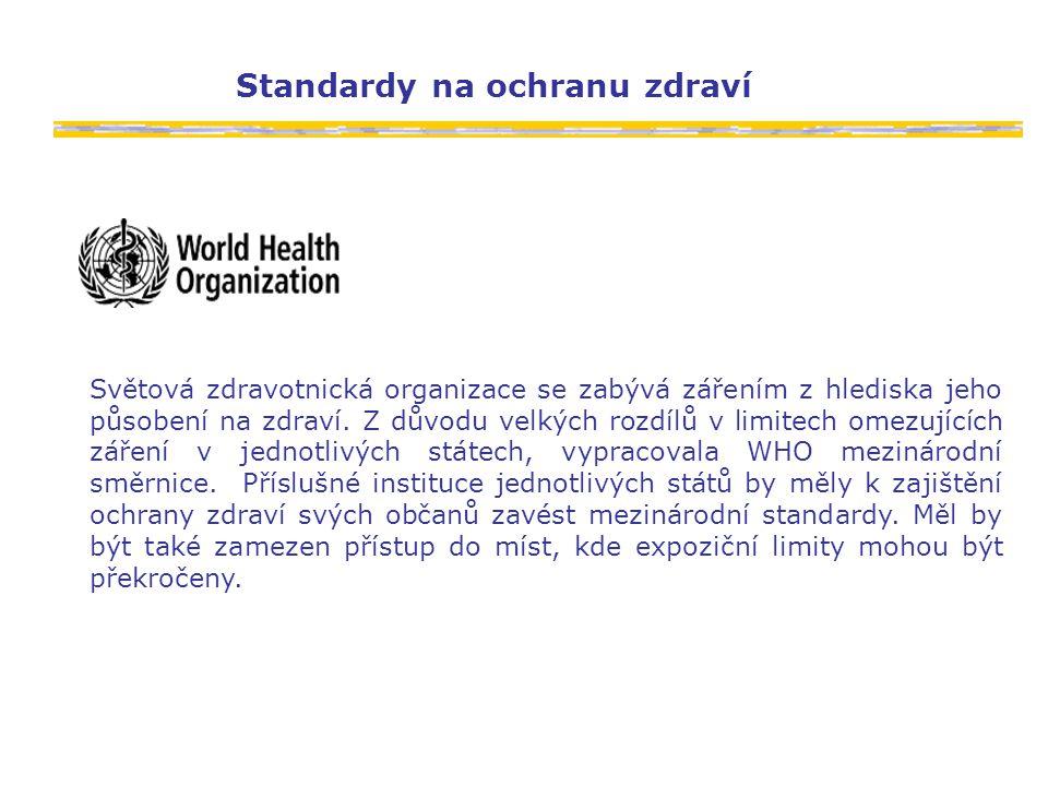 Standardy na ochranu zdraví Světová zdravotnická organizace se zabývá zářením z hlediska jeho působení na zdraví.
