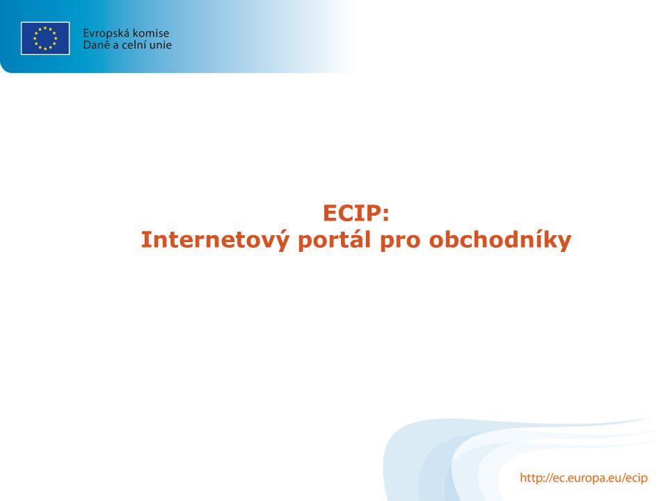 ECIP: Internetový portál pro obchodníky