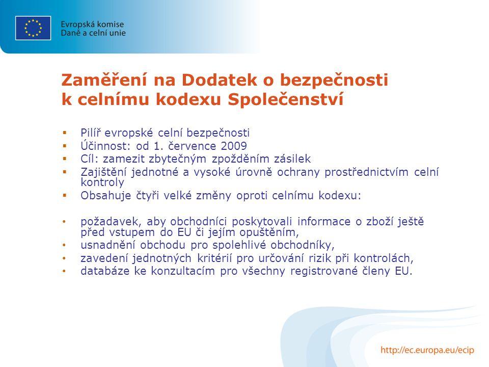 Zaměření na Dodatek o bezpečnosti k celnímu kodexu Společenství  Pilíř evropské celní bezpečnosti  Účinnost: od 1.