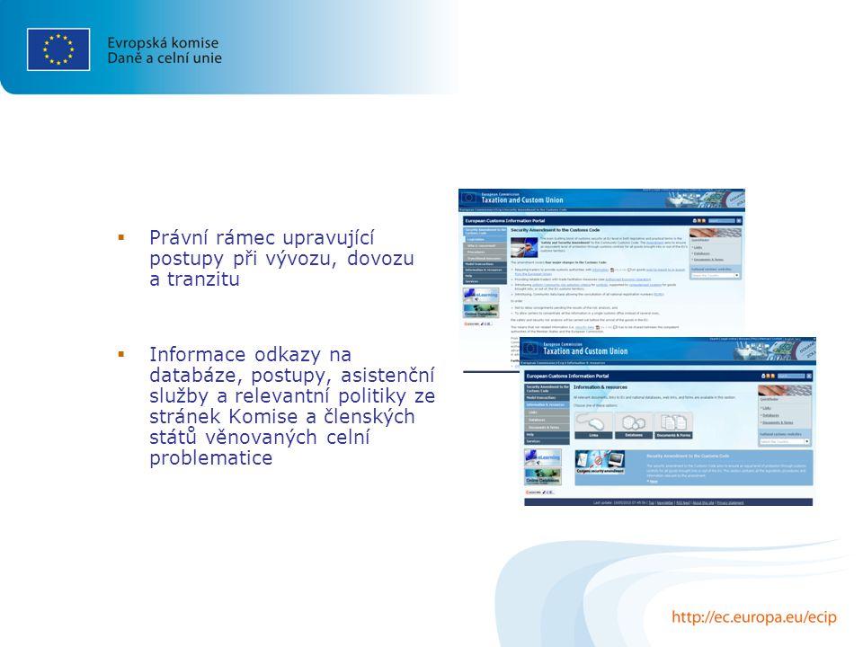  Právní rámec upravující postupy při vývozu, dovozu a tranzitu  Informace odkazy na databáze, postupy, asistenční služby a relevantní politiky ze stránek Komise a členských států věnovaných celní problematice