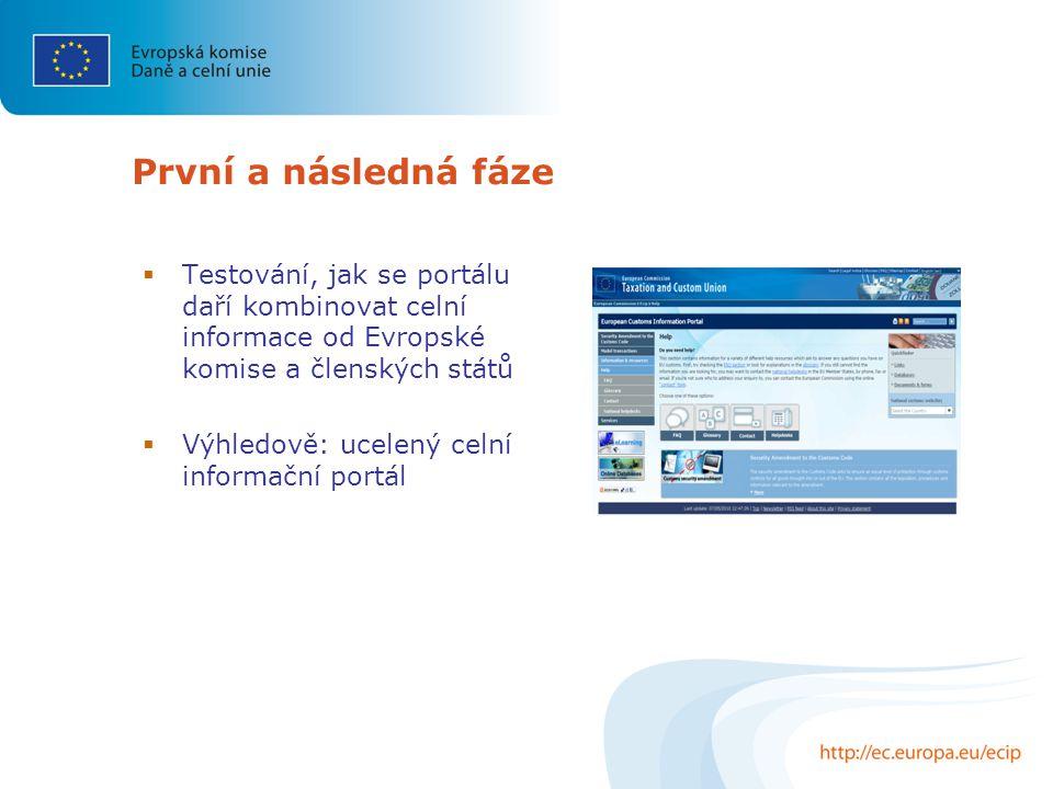 První a následná fáze  Testování, jak se portálu daří kombinovat celní informace od Evropské komise a členských států  Výhledově: ucelený celní informační portál