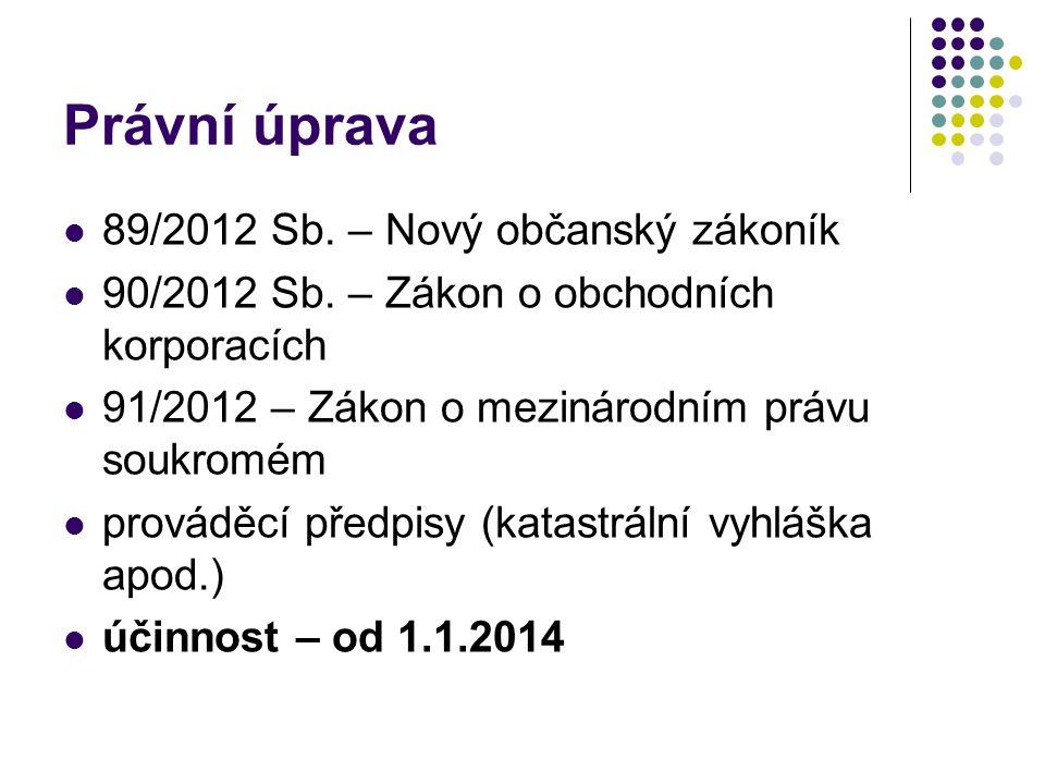 Právní úprava 89/2012 Sb. – Nový občanský zákoník 90/2012 Sb.