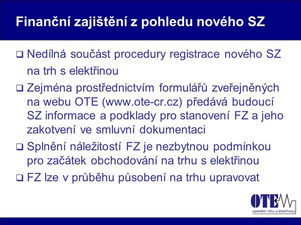 Finanční zajištění z pohledu nového SZ  Nedílná součást procedury registrace nového SZ na trh s elektřinou  Zejména prostřednictvím formulářů zveřej