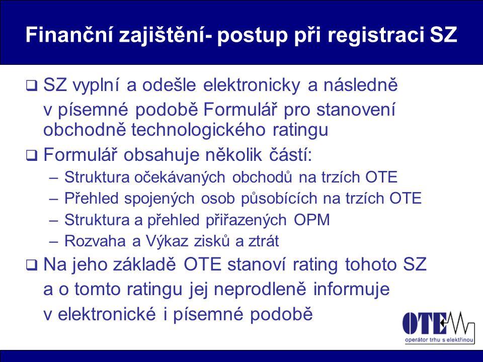 Finanční zajištění- postup při registraci SZ  SZ vyplní a odešle elektronicky a následně v písemné podobě Formulář pro stanovení obchodně technologic