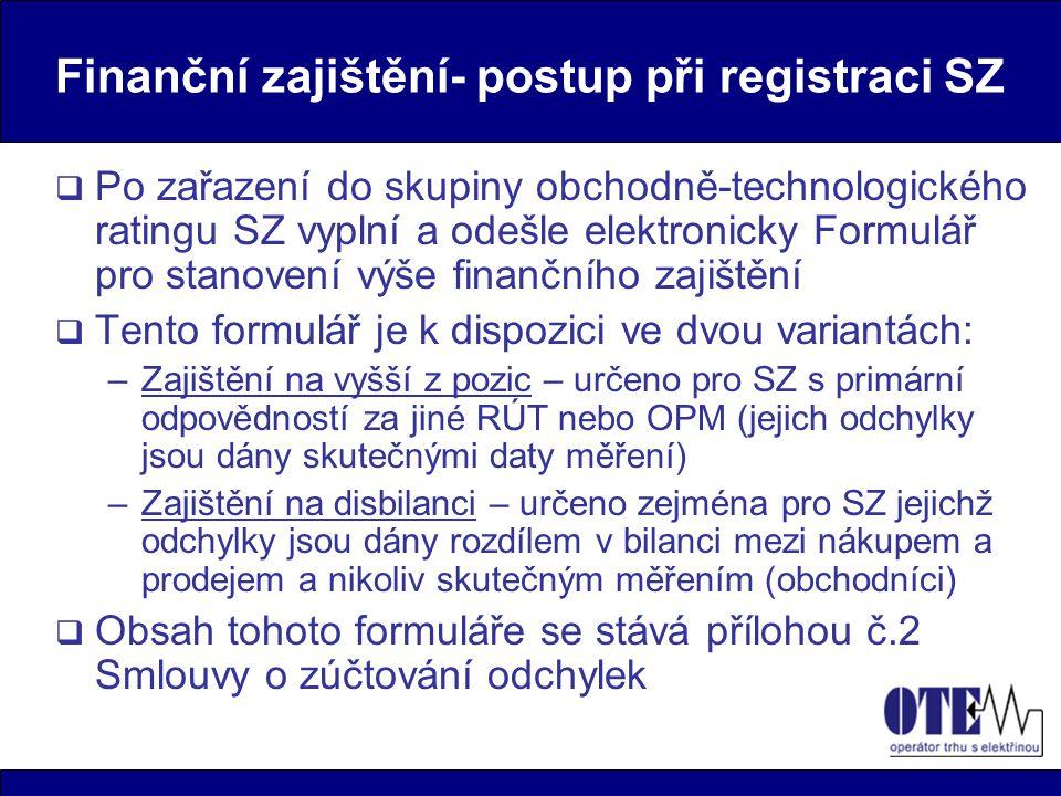 Finanční zajištění- postup při registraci SZ  Po zařazení do skupiny obchodně-technologického ratingu SZ vyplní a odešle elektronicky Formulář pro st