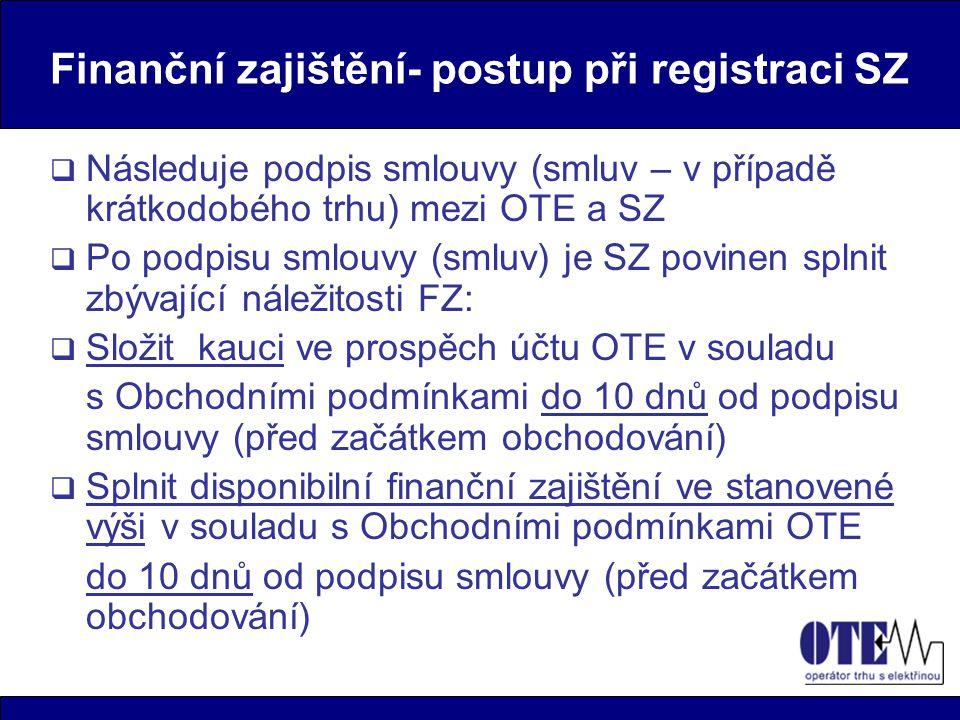 Finanční zajištění- postup při registraci SZ  Následuje podpis smlouvy (smluv – v případě krátkodobého trhu) mezi OTE a SZ  Po podpisu smlouvy (smlu