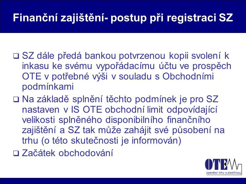 Finanční zajištění- postup při registraci SZ  SZ dále předá bankou potvrzenou kopii svolení k inkasu ke svému vypořádacímu účtu ve prospěch OTE v pot
