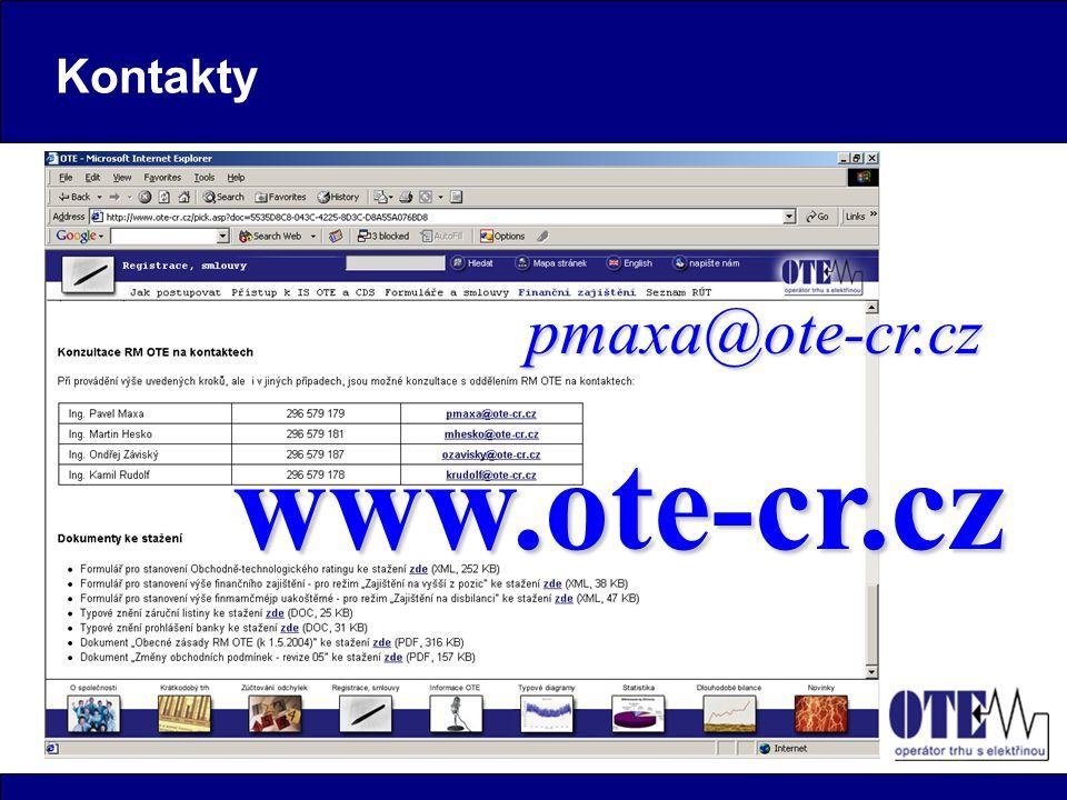 Kontakty www.ote-cr.cz pmaxa@ote-cr.cz