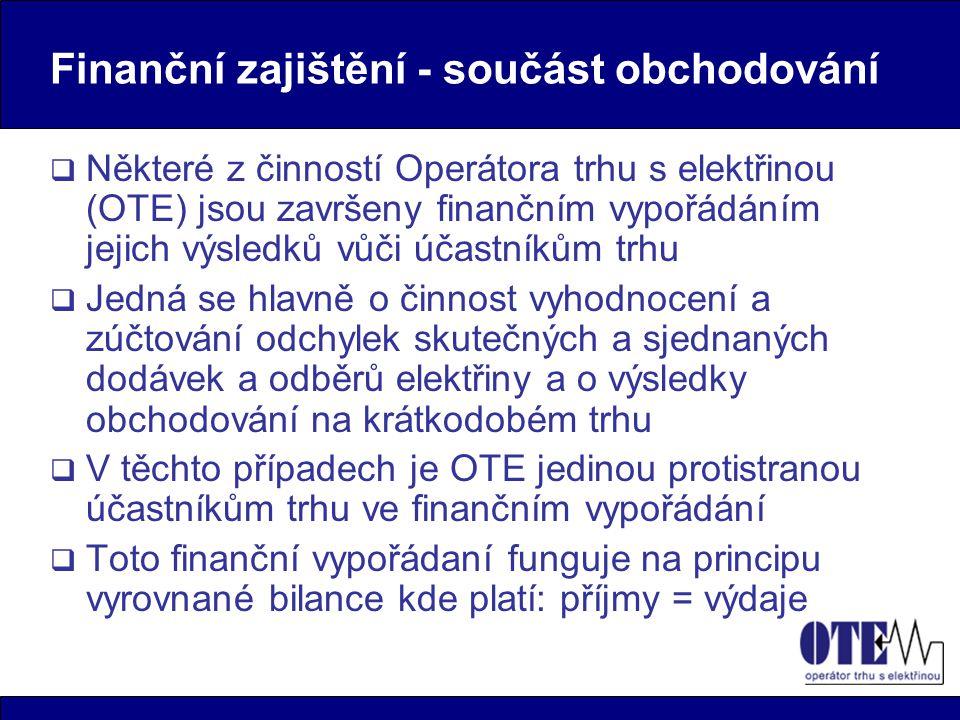 Finanční zajištění - součást obchodování  Některé z činností Operátora trhu s elektřinou (OTE) jsou završeny finančním vypořádáním jejich výsledků vů