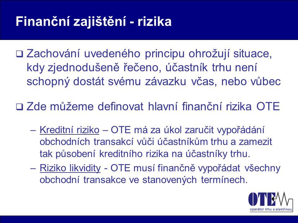 Finanční zajištění - výchozí pozice OTE  Nutnost řízení definovaných rizik  Velký objem toku finančních prostředků  Velké množství obchodních transakcí  Nutnost zajištění bezproblémového finančního vypořádání těchto transakcí  Nízký základní kapitál OTE  Pevně stanovené ceny za činnost OTE  Krátký čas do doby spuštění trhu (1.