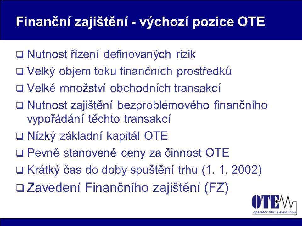 Finanční zajištění - výchozí pozice OTE  Nutnost řízení definovaných rizik  Velký objem toku finančních prostředků  Velké množství obchodních trans