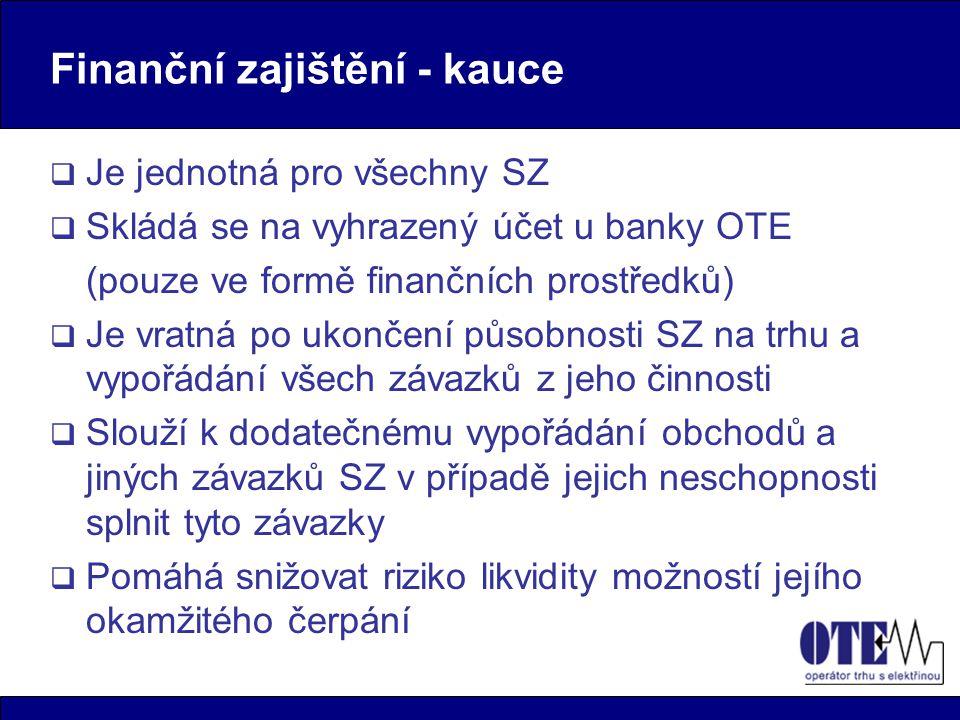 Finanční zajištění - kauce  Je jednotná pro všechny SZ  Skládá se na vyhrazený účet u banky OTE (pouze ve formě finančních prostředků)  Je vratná p