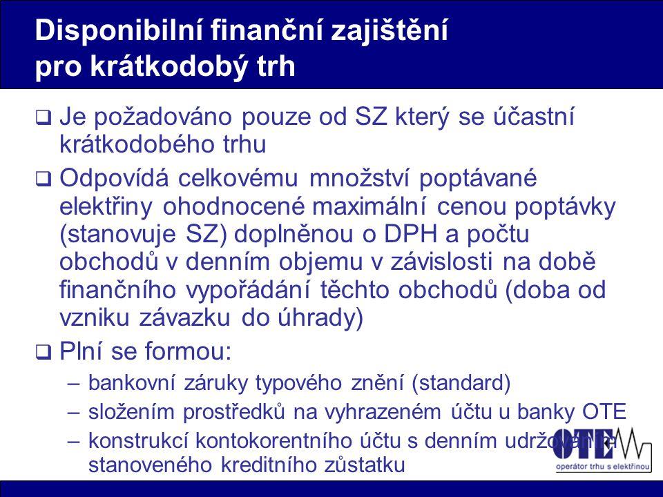Disponibilní finanční zajištění pro krátkodobý trh  Je požadováno pouze od SZ který se účastní krátkodobého trhu  Odpovídá celkovému množství poptáv