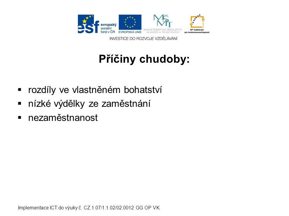 Příčiny chudoby:  rozdíly ve vlastněném bohatství  nízké výdělky ze zaměstnání  nezaměstnanost Implementace ICT do výuky č. CZ.1.07/1.1.02/02.0012