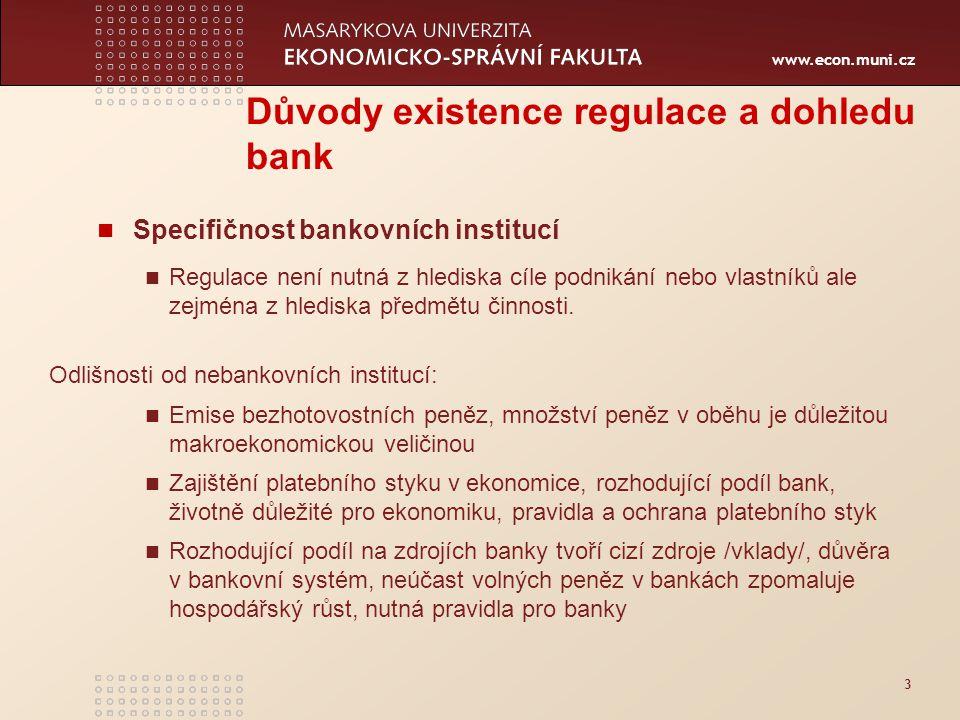 www.econ.muni.cz 3 Důvody existence regulace a dohledu bank Specifičnost bankovních institucí Regulace není nutná z hlediska cíle podnikání nebo vlastníků ale zejména z hlediska předmětu činnosti.