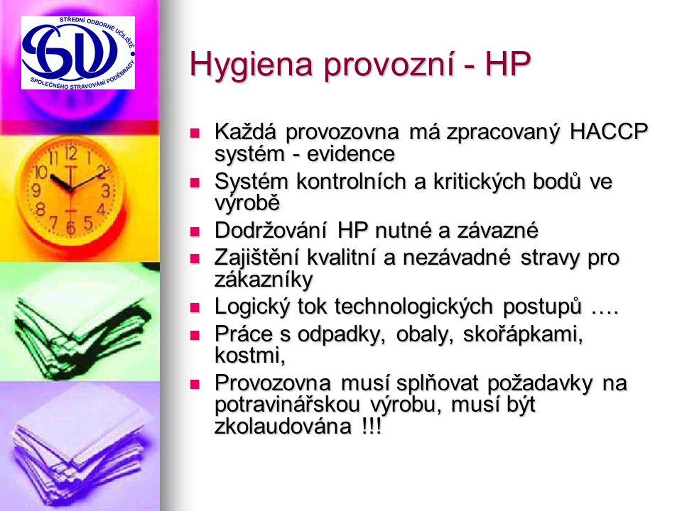 Hygiena provozní - HP Každá provozovna má zpracovaný HACCP systém - evidence Každá provozovna má zpracovaný HACCP systém - evidence Systém kontrolních a kritických bodů ve výrobě Systém kontrolních a kritických bodů ve výrobě Dodržování HP nutné a závazné Dodržování HP nutné a závazné Zajištění kvalitní a nezávadné stravy pro zákazníky Zajištění kvalitní a nezávadné stravy pro zákazníky Logický tok technologických postupů ….