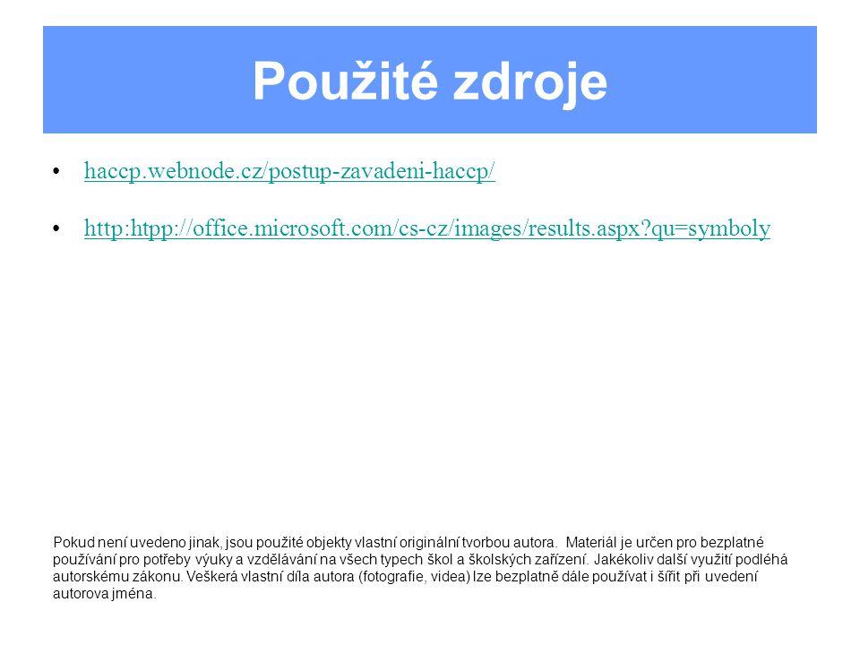 Použité zdroje haccp.webnode.cz/postup-zavadeni-haccp/ http:htpp://office.microsoft.com/cs-cz/images/results.aspx?qu=symboly Pokud není uvedeno jinak,
