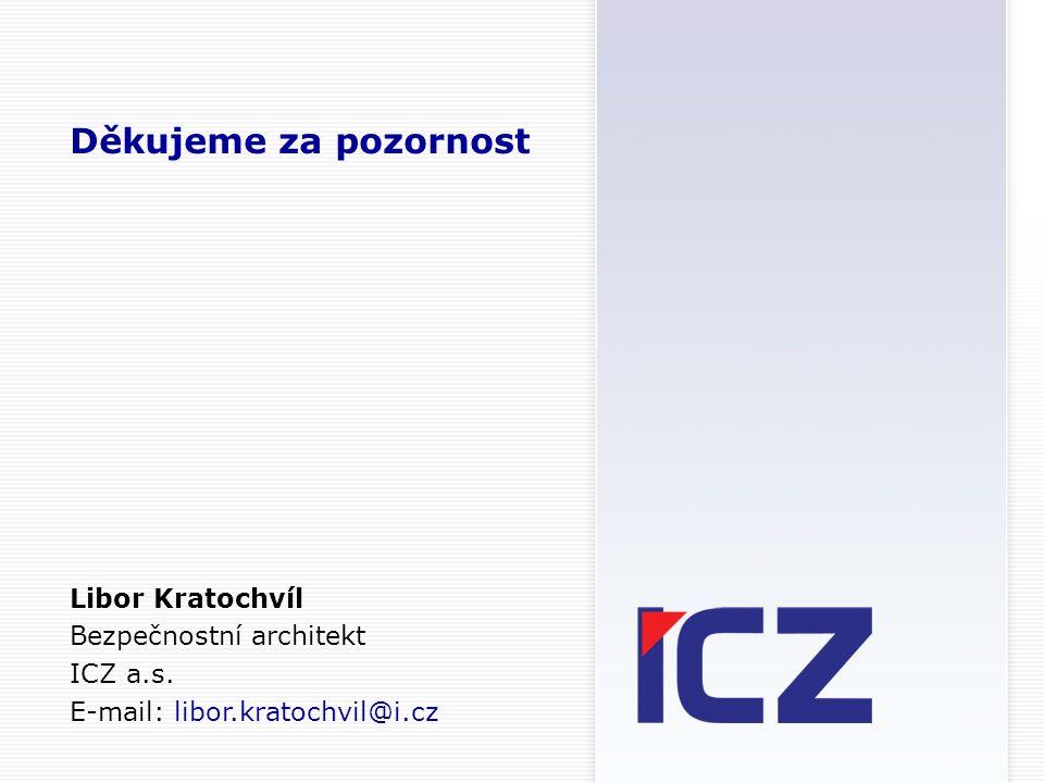 Děkujeme za pozornost Libor Kratochvíl Bezpečnostní architekt ICZ a.s.