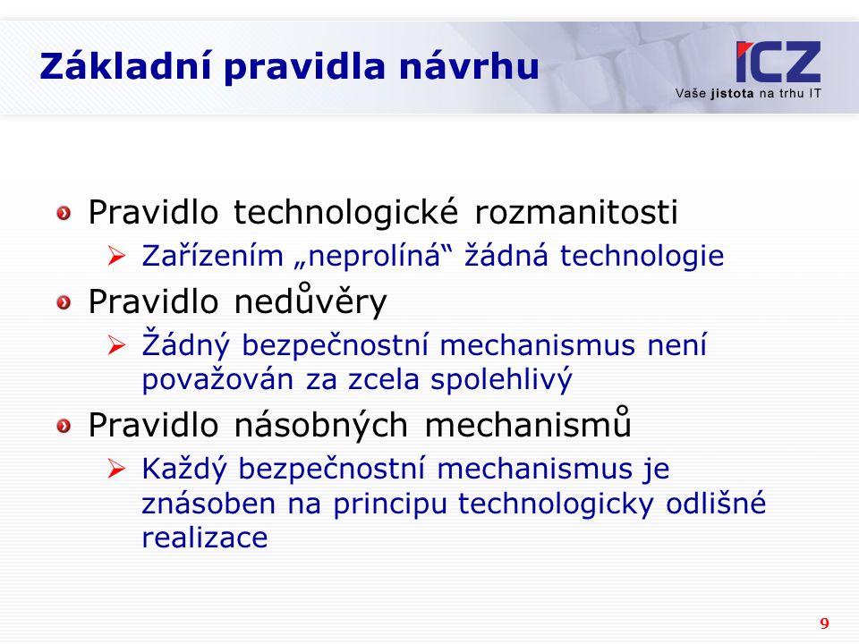 """9 Základní pravidla návrhu Pravidlo technologické rozmanitosti  Zařízením """"neprolíná žádná technologie Pravidlo nedůvěry  Žádný bezpečnostní mechanismus není považován za zcela spolehlivý Pravidlo násobných mechanismů  Každý bezpečnostní mechanismus je znásoben na principu technologicky odlišné realizace"""