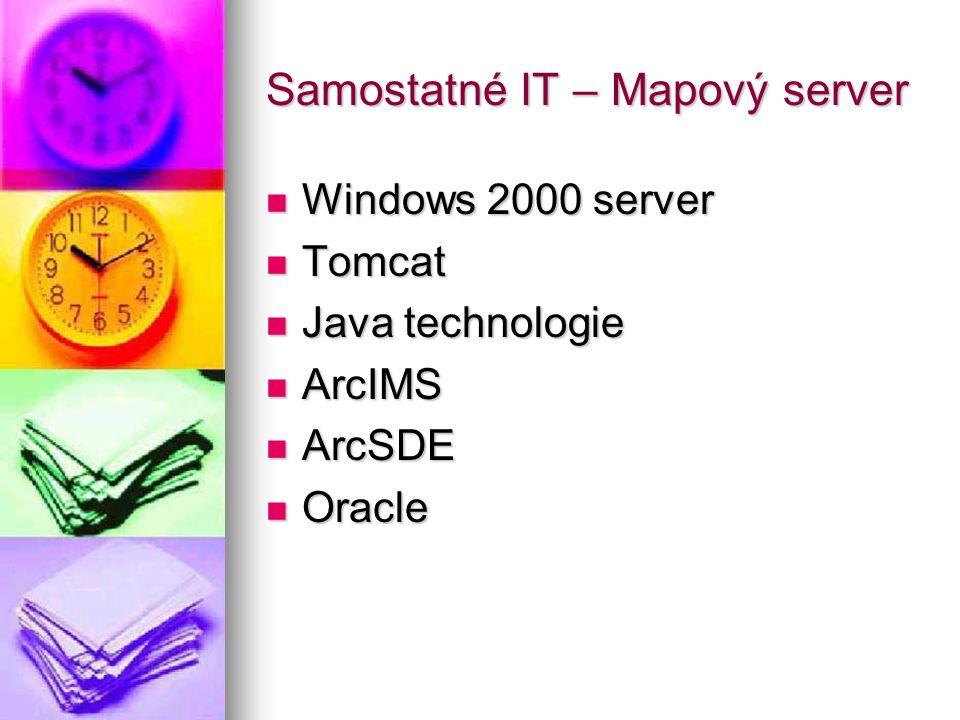Samostatné IT – Mapový server Windows 2000 server Windows 2000 server Tomcat Tomcat Java technologie Java technologie ArcIMS ArcIMS ArcSDE ArcSDE Oracle Oracle