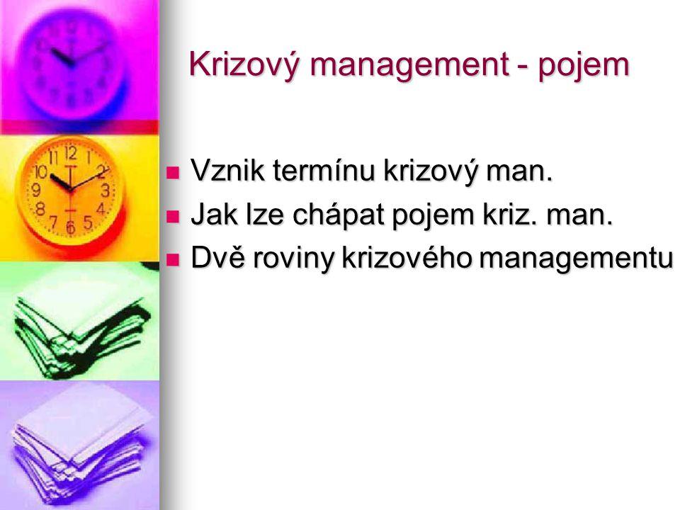 Krizový management - pojem Vznik termínu krizový man. Vznik termínu krizový man. Jak lze chápat pojem kriz. man. Jak lze chápat pojem kriz. man. Dvě r