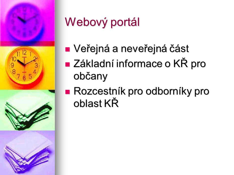 Webový portál Veřejná a neveřejná část Veřejná a neveřejná část Základní informace o KŘ pro občany Základní informace o KŘ pro občany Rozcestník pro o