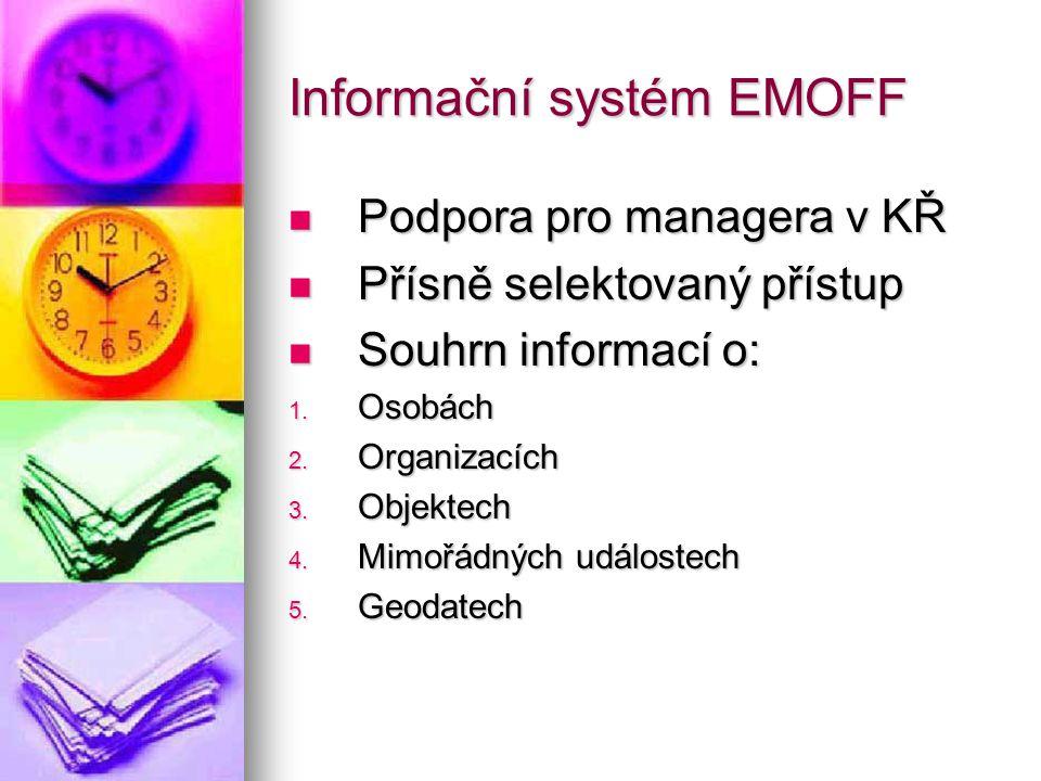 Informační systém EMOFF Podpora pro managera v KŘ Podpora pro managera v KŘ Přísně selektovaný přístup Přísně selektovaný přístup Souhrn informací o: Souhrn informací o: 1.