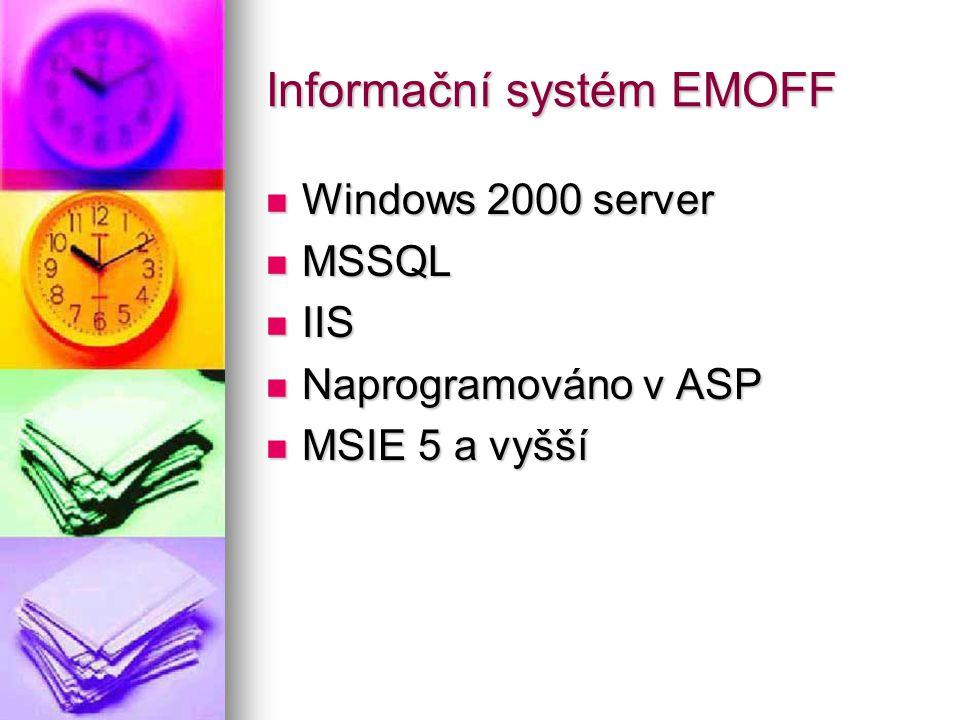 Informační systém EMOFF Windows 2000 server Windows 2000 server MSSQL MSSQL IIS IIS Naprogramováno v ASP Naprogramováno v ASP MSIE 5 a vyšší MSIE 5 a vyšší