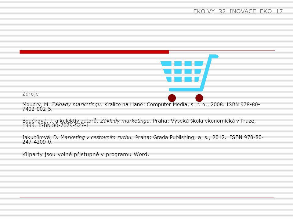 Zdroje Moudrý, M. Základy marketingu. Kralice na Hané: Computer Media, s. r. o., 2008. ISBN 978-80- 7402-002-5. Boučková, J. a kolektiv autorů. Základ