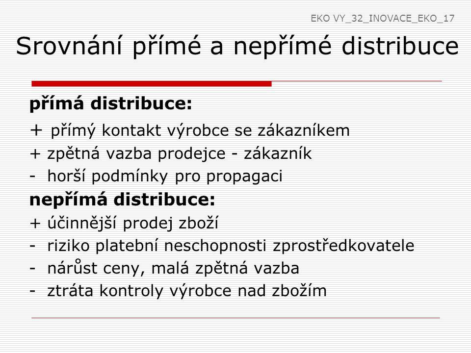 Srovnání přímé a nepřímé distribuce přímá distribuce: + přímý kontakt výrobce se zákazníkem + zpětná vazba prodejce - zákazník - horší podmínky pro pr