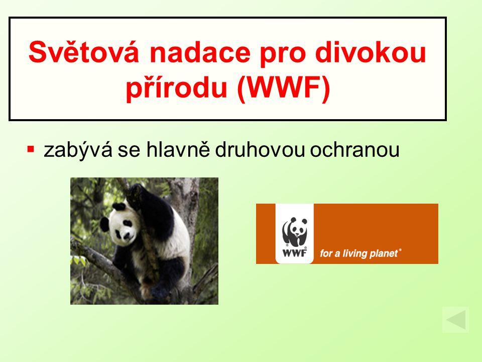  zabývá se hlavně druhovou ochranou Světová nadace pro divokou přírodu (WWF)