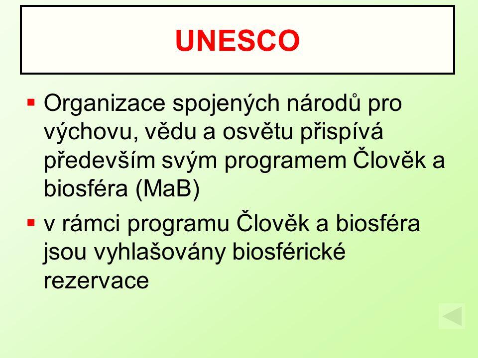  Organizace spojených národů pro výchovu, vědu a osvětu přispívá především svým programem Člověk a biosféra (MaB)  v rámci programu Člověk a biosféra jsou vyhlašovány biosférické rezervace UNESCO