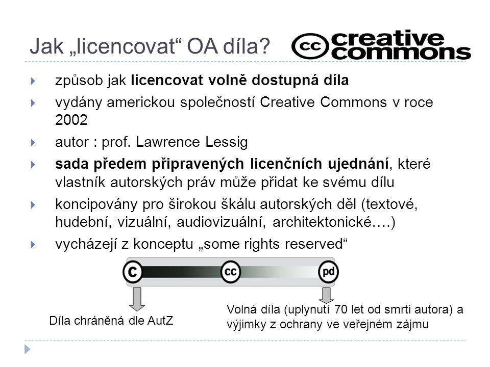  způsob jak licencovat volně dostupná díla  vydány americkou společností Creative Commons v roce 2002  autor : prof. Lawrence Lessig  sada předem
